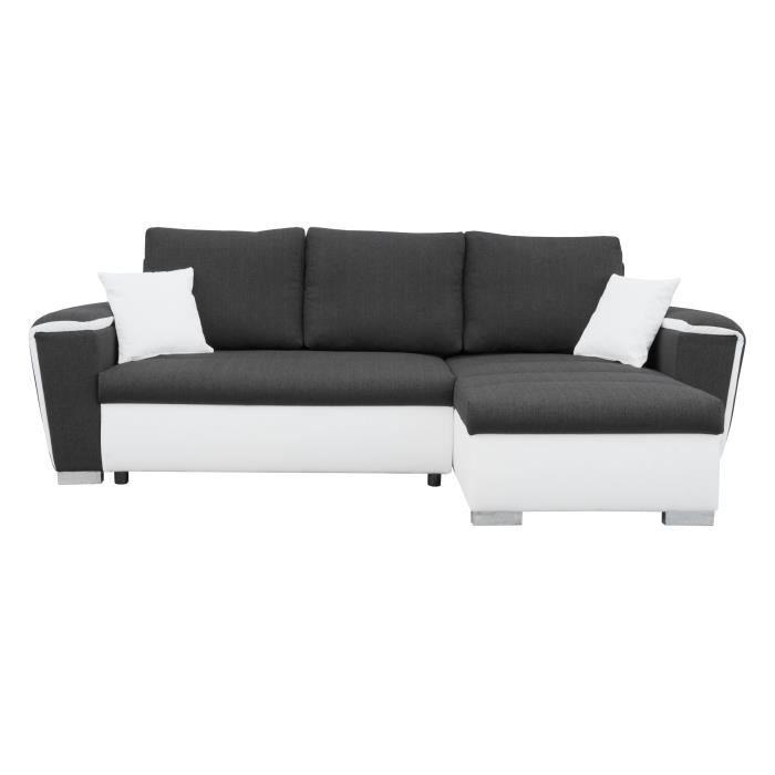 comino canap angle r versible convertible en bois massif 4 places tissu et simili gris et. Black Bedroom Furniture Sets. Home Design Ideas