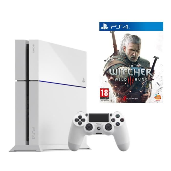 ps4 blanche the witcher 3 achat vente console ps4. Black Bedroom Furniture Sets. Home Design Ideas