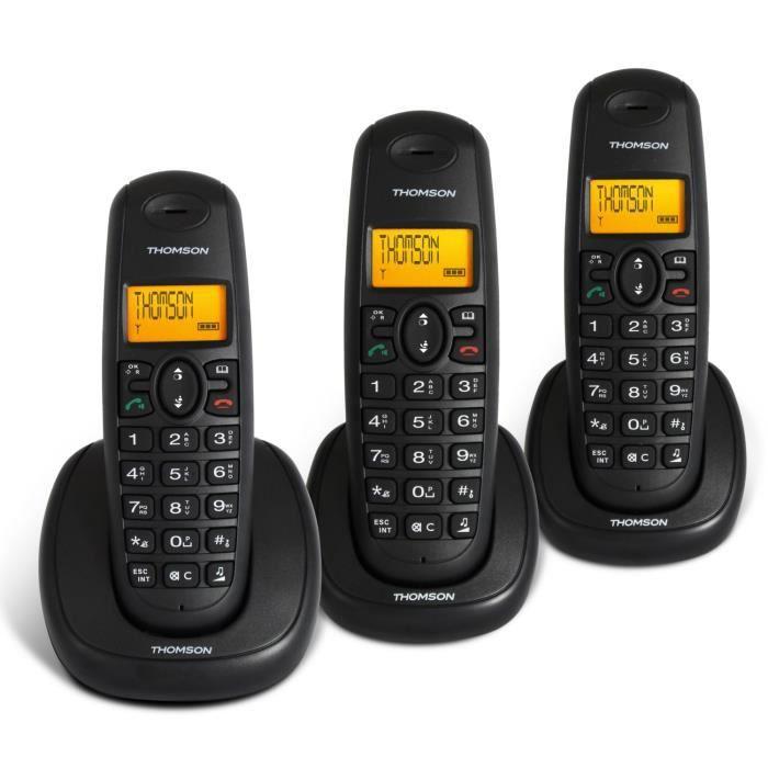 Thomson topaze trio noir sans fil sans r pondeur achat t l phone fixe pas c - Telephone fixe longue portee ...