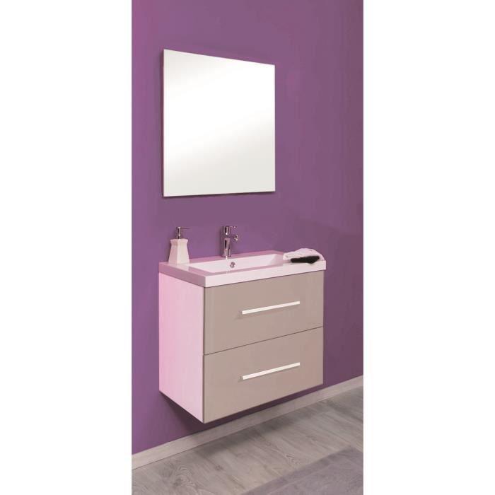 Modulo salle de bain compl te en bois simple vasque 60 cm for Meuble salle de bain 60 cm bois