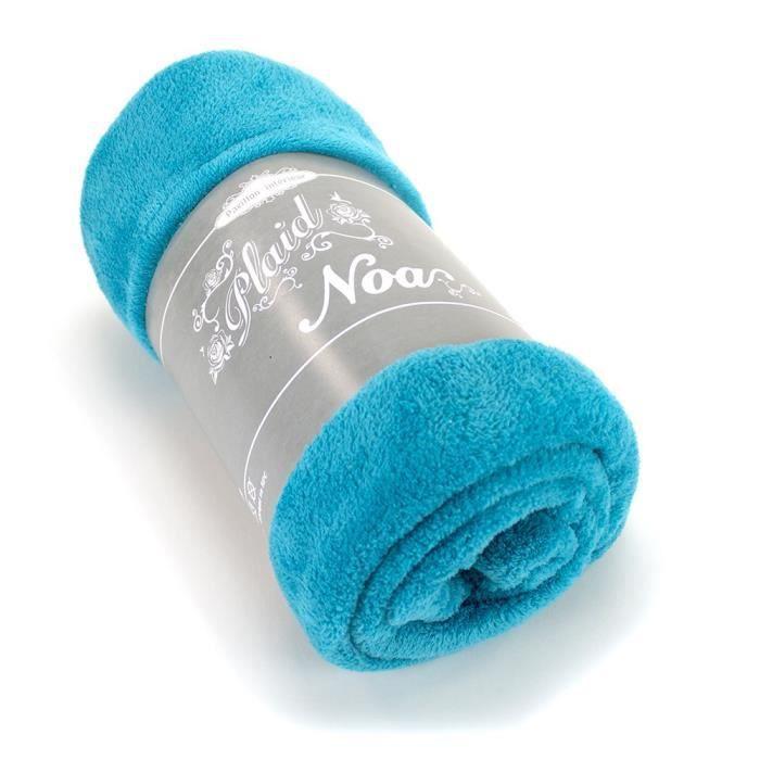 Noa plaid 130x160cm microfibre turquoise achat vente jet e de lit boutis cdiscount for Boutis turquoise