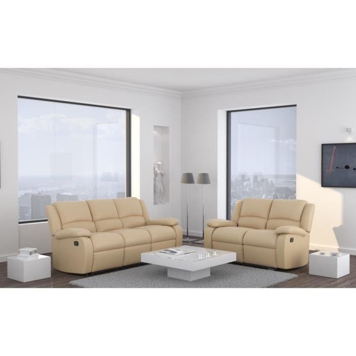 Relax ensemble canap s cuir et simili 3 2 places 192x92x93 cm 138x92x96 cm beige achat - Canape cuir beige 3 places ...