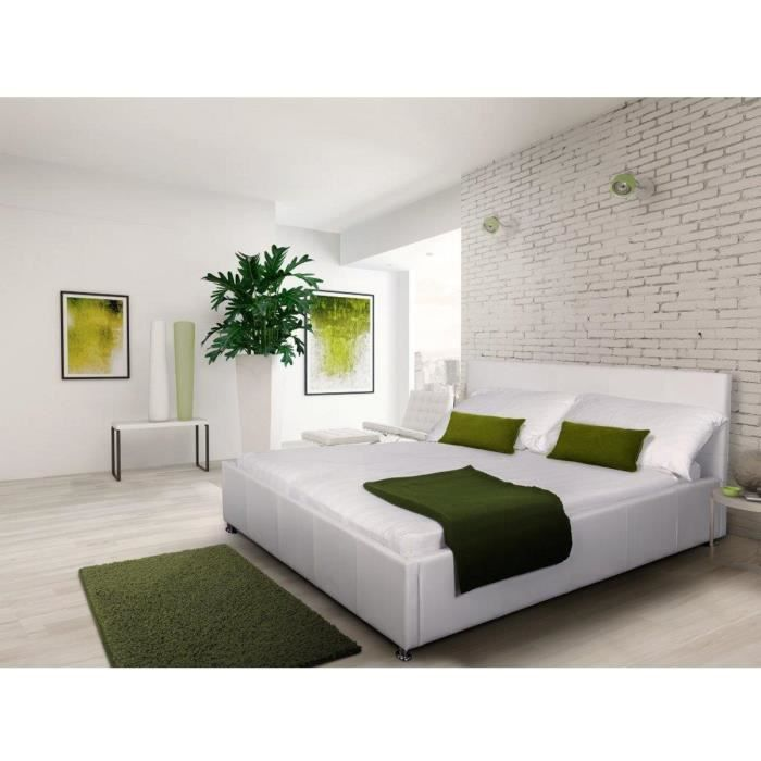 kira lit adulte 140x190cm capitonn simili blanc achat. Black Bedroom Furniture Sets. Home Design Ideas