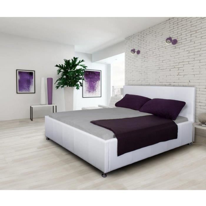 kira lit adulte 160x200cm capitonn simili blanc achat vente structure de lit kira lit. Black Bedroom Furniture Sets. Home Design Ideas