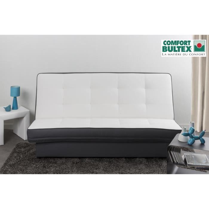 posh banquette clic clac convertible lit mousse bultex 2 places blanc gris achat vente clic. Black Bedroom Furniture Sets. Home Design Ideas
