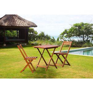 Salon de jardin 1 table 2 chaises eucalyptus fsc achat vente salon de jardin salon de jardin - Salon de jardin eucalyptus ...