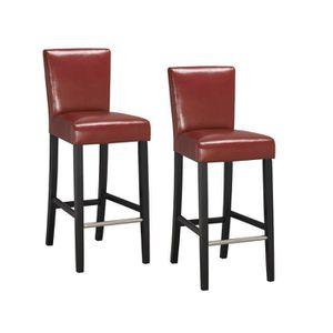 TABOURET DE BAR ELVIS Lot de 2 tabourets de bar en simili Rouge