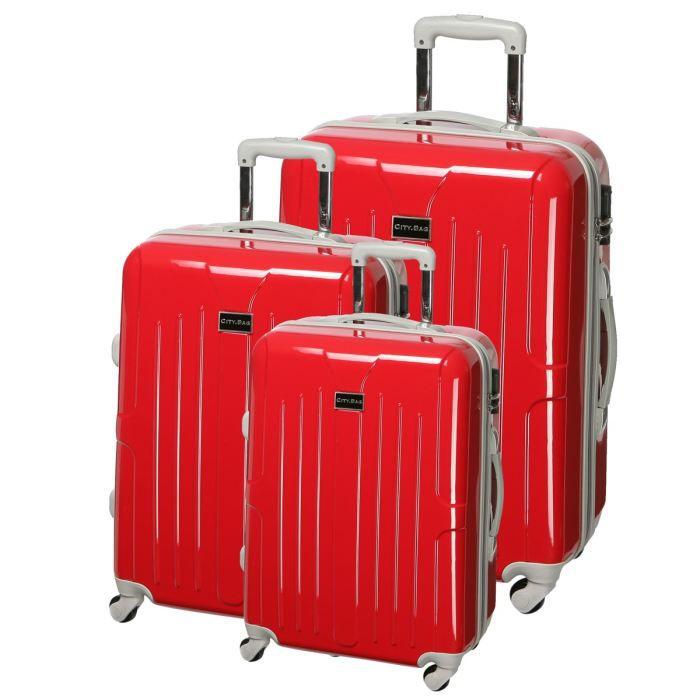 city bag set de 3 valises trolley 4 roues hero rouge achat vente set de valises. Black Bedroom Furniture Sets. Home Design Ideas