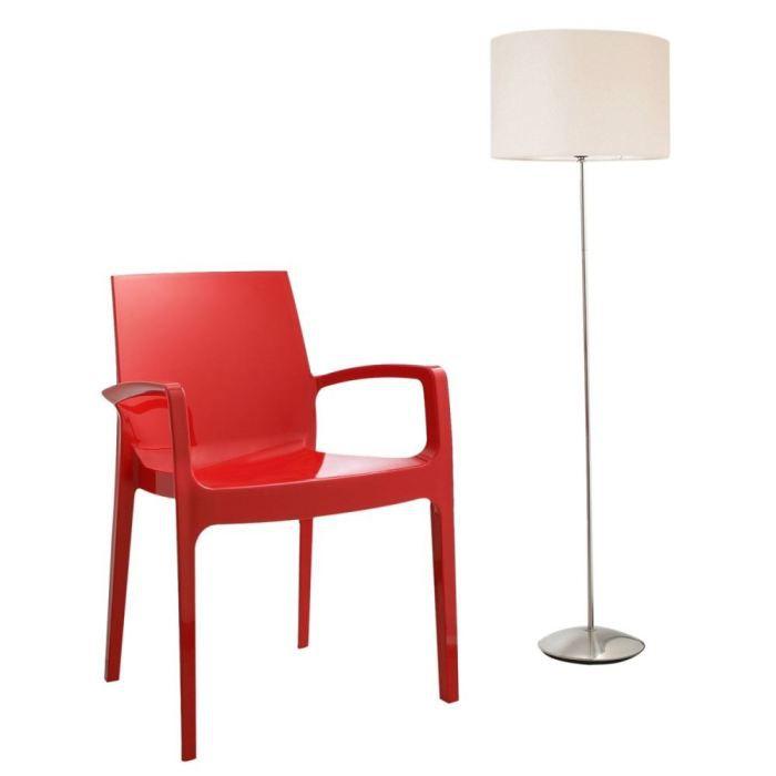 Chaise cream rouge achat vente chaise polycarbonate plastique synth tiq - Chaise plastique rouge ...