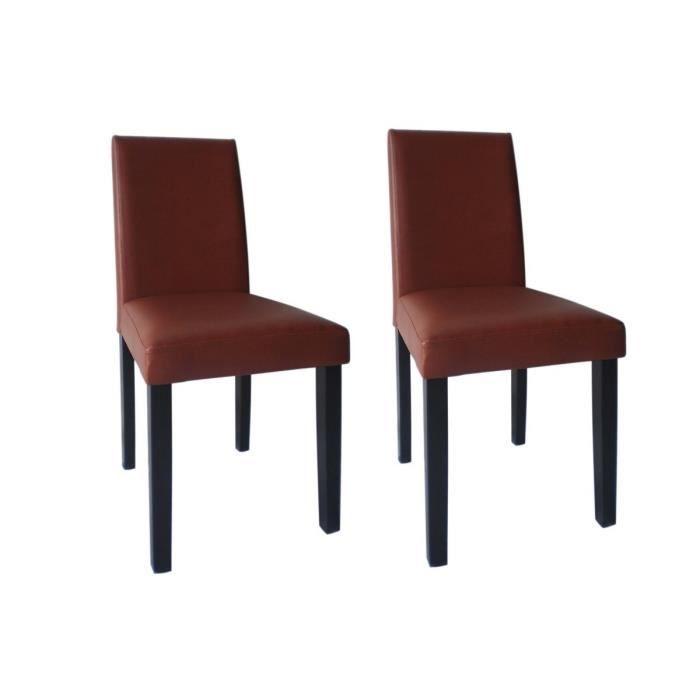 Clara lot de 2 chaises de salle manger en simili for Chaise salle a manger rouge