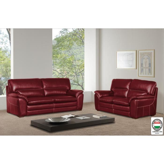 florence ensemble canap s droit fixe en cuir 2 3 places 155x85x88 cm 195x85x88 cm rouge. Black Bedroom Furniture Sets. Home Design Ideas
