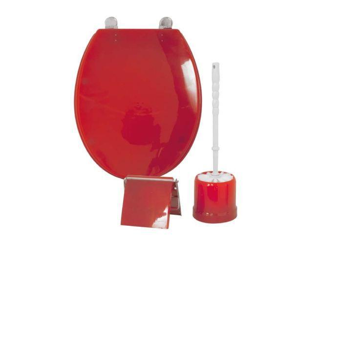 Frandis coffret 3 pi ces wc rouge achat vente set accessoires coffret 3 - Ensemble accessoires wc ...