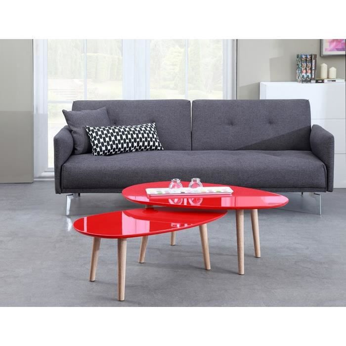Galet table basse 88 cm rouge achat vente table basse - Table basse rouge laque ...