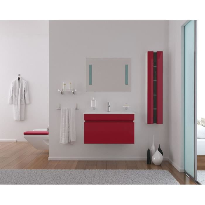 Alba salle de bain compl te 80cm rouge brillant achat for Ensemble sdb