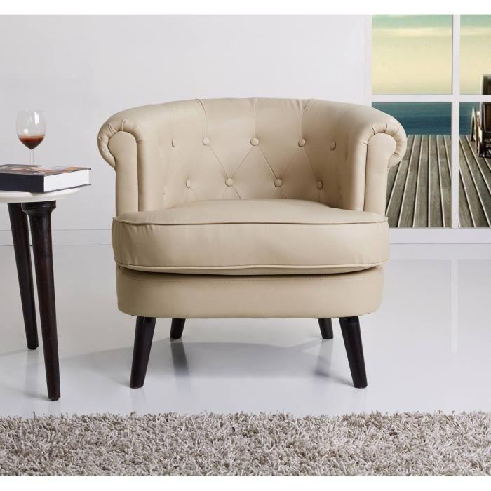 Henri fauteuil avec accoudoirs 80x76 cm simili taupe achat vente faut - Fauteuil cabriolet taupe ...