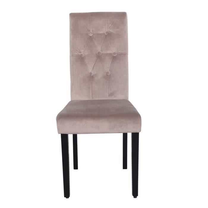 Cecilia lot 2 chaises velours taupe achat vente chaise for Lot 4 chaises taupe