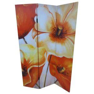 PARAVENT Paravent fleur 180 x 120 cm en sapin orange crème