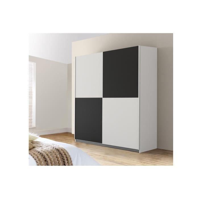 mezzo armoire 2 portes coulissantes 170 cm blanc noir. Black Bedroom Furniture Sets. Home Design Ideas