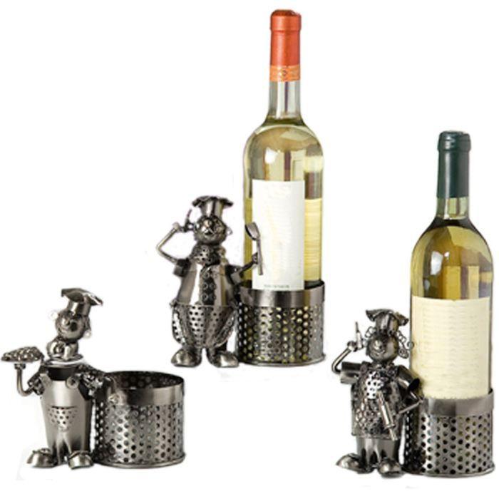 RANGE BOUTEILLE Portes bouteilles métal Lot de 3 Petits Chefs