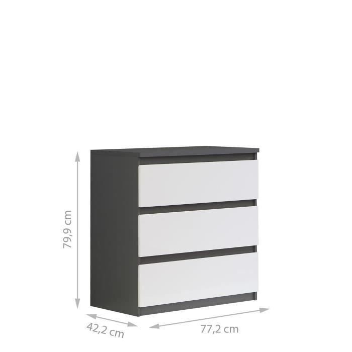 finlandek commode natti 78cm gris et blanc achat vente commode de chambre finlandek commode. Black Bedroom Furniture Sets. Home Design Ideas