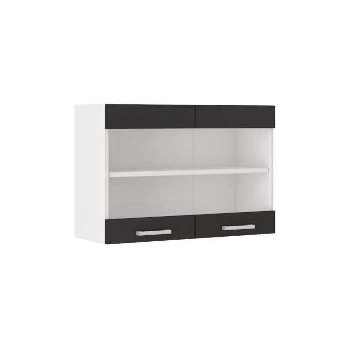 Alceo meuble haut de cuisine l 80 cm noir achat - Meuble haut cuisine noir ...