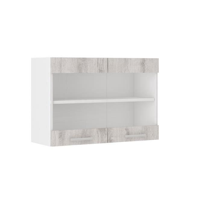 ultra meuble haut de cuisine 80 cm d cor ch ne clair blanchi achat vente l ments haut. Black Bedroom Furniture Sets. Home Design Ideas