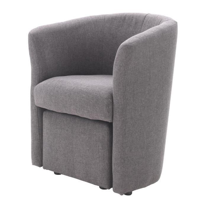 Baya fauteuil pouf en tissu cabriolet gris achat vente fauteuil cdi - Fauteuil tissus gris ...