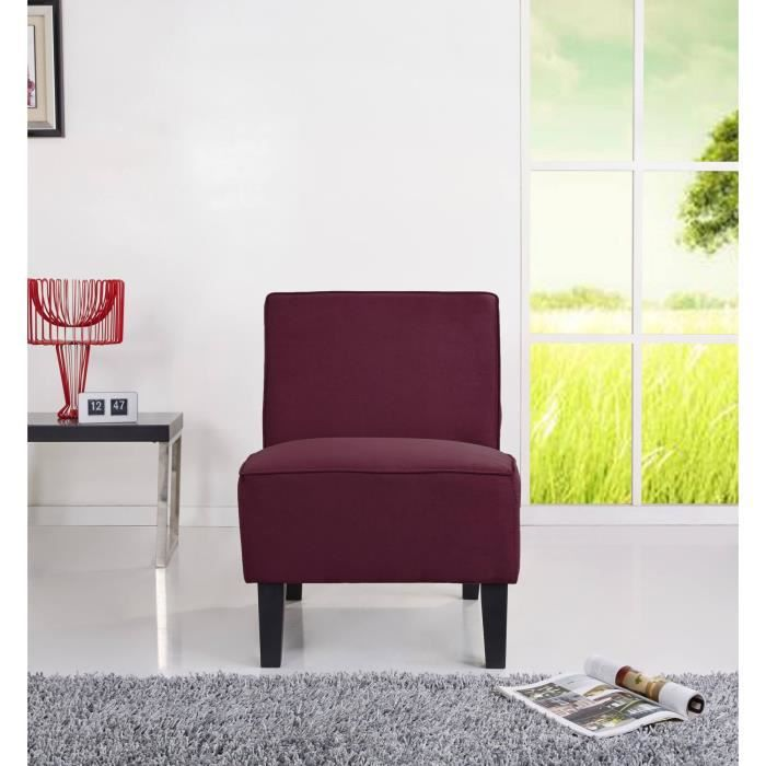 alceste fauteuil sans accoudoirs 73x61 cm tissu aubergine achat vente fauteuil structure. Black Bedroom Furniture Sets. Home Design Ideas