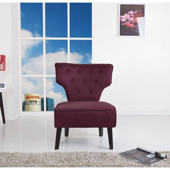 titus fauteuil sans accoudoirs 72x60 cm tissu et velour acrylique aubergine achat vente. Black Bedroom Furniture Sets. Home Design Ideas