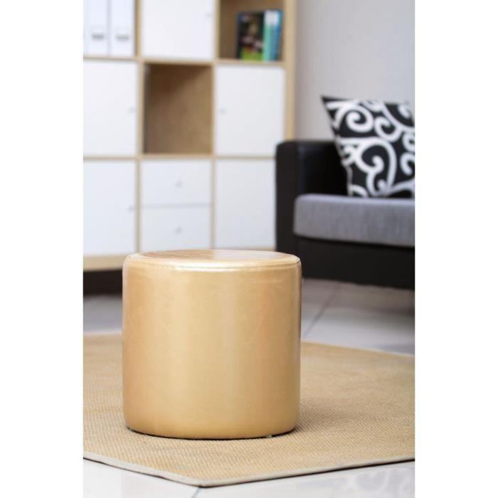 pouf rond en pu gloss or achat vente pouf poire pu. Black Bedroom Furniture Sets. Home Design Ideas
