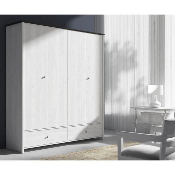 Porto armoire de chambre 189 cm blanc achat vente for Achat armoire chambre
