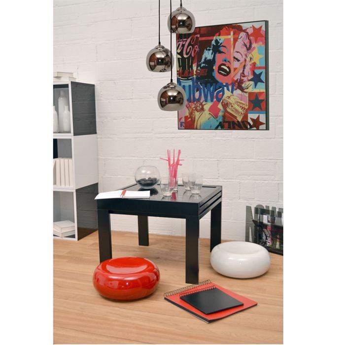 Sam table basse plateau extensible noire achat vente for Table sam extensible