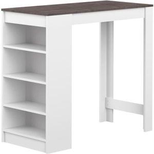 MEUBLE BAR CURRY Table bar 4 personnes 115x50 cm - Blanc et d