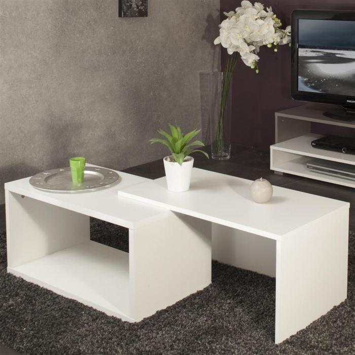 Logo table basse modulable blanche achat vente table - Table hauteur modulable ...