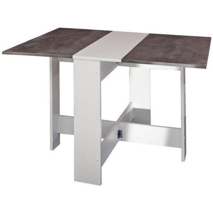 curry table manger pliante de 4 6 personnes style contemporain m lamin e blanc d cor b ton. Black Bedroom Furniture Sets. Home Design Ideas