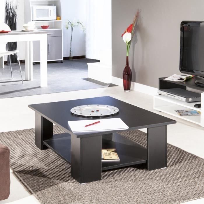 Mango table basse rectangulaire 89cm noir achat vente for Petite table basse noire