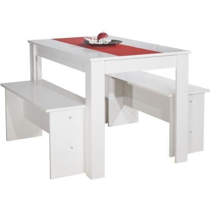 Salt table manger 4 personnes 110x70 cm 2 bancs for Salle a manger 4 personnes