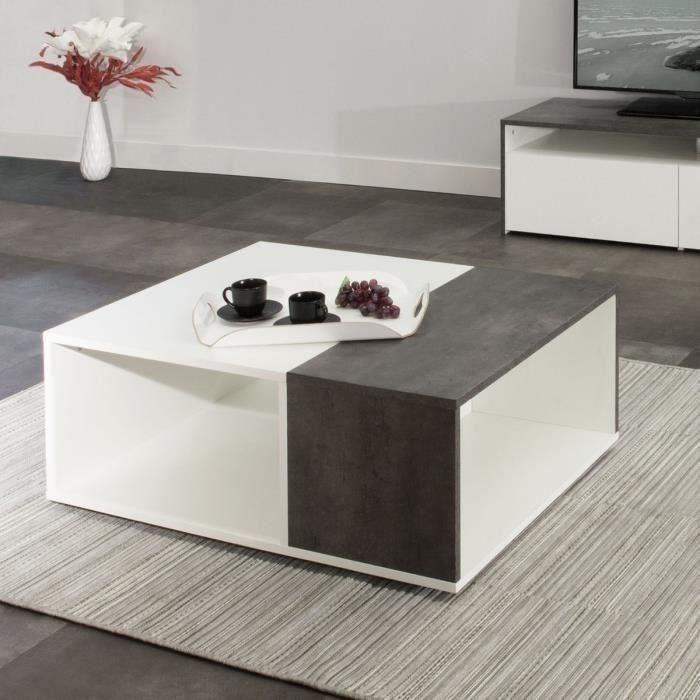 Mega table basse bivolume 89x67 cm d cor b ton et blanc - Decoration table basse ...