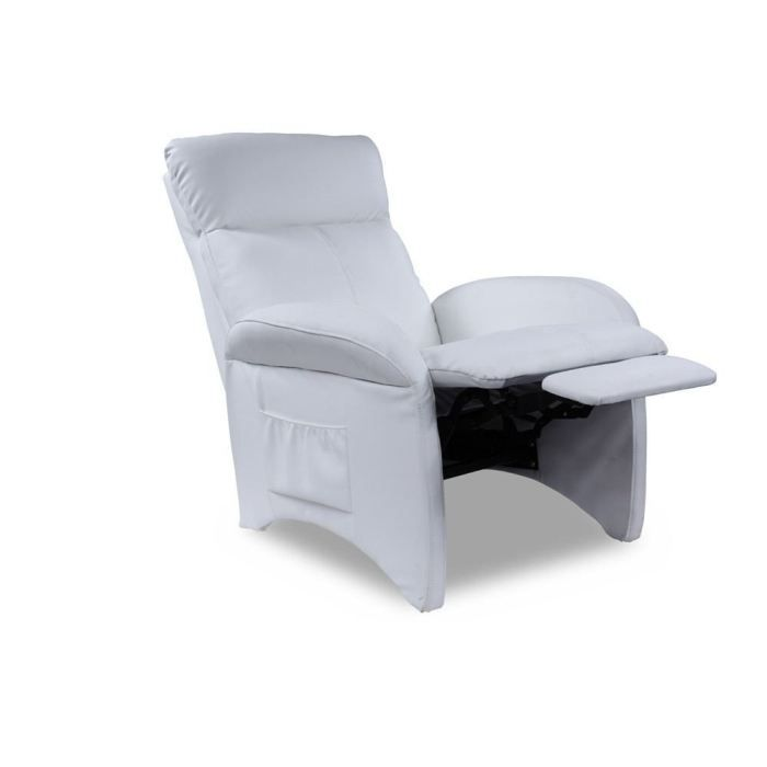 Fauteuil relaxation pu blanc achat vente fauteuil rev tement polyur thane - Fauteuil relax discount ...