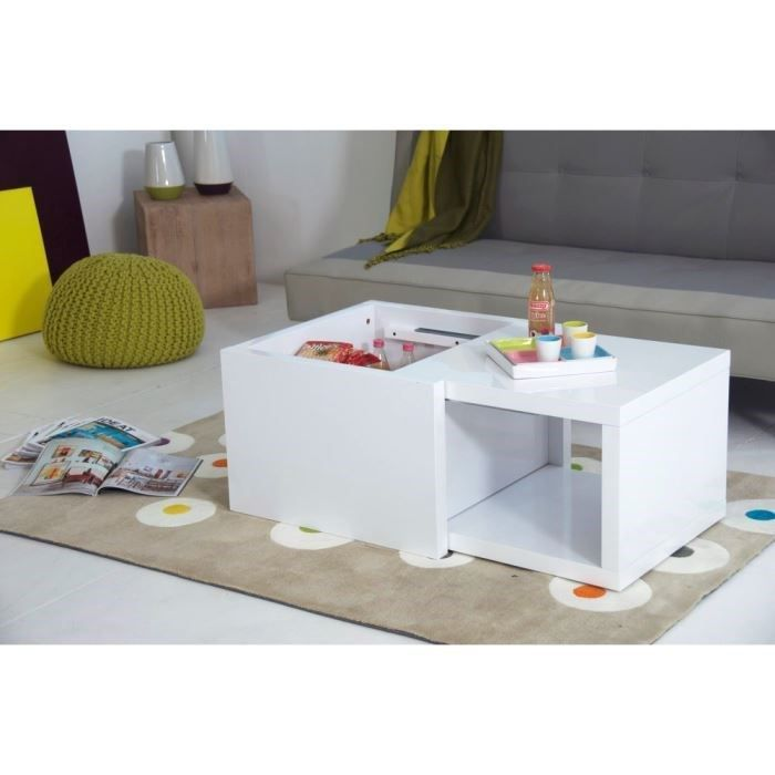 Box table basse blanche extensible achat vente table for Table carree extensible blanche