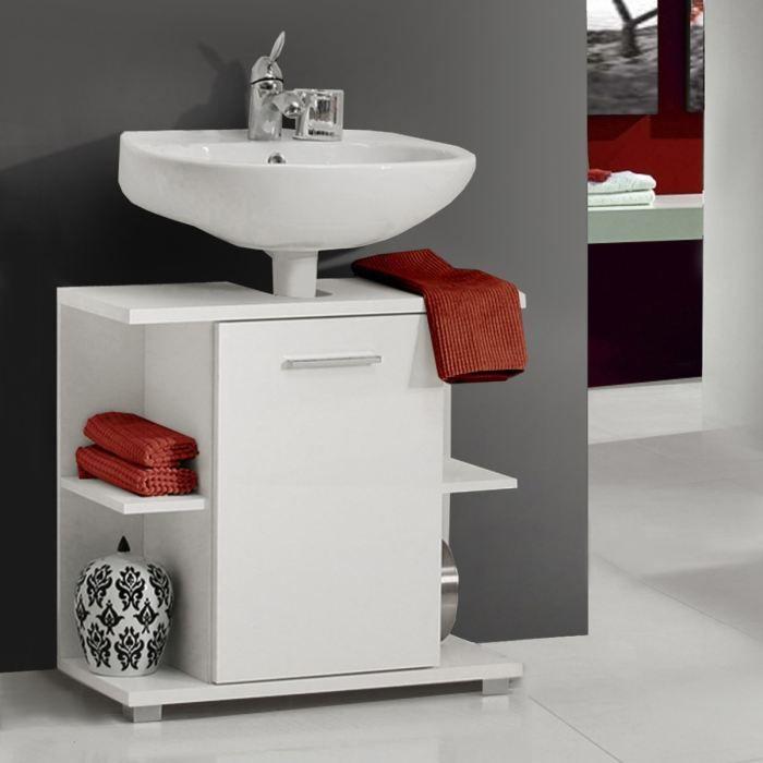Champ sous lavabo blanc mat et blanc brillant achat for Meuble sous lavabo 70 cm