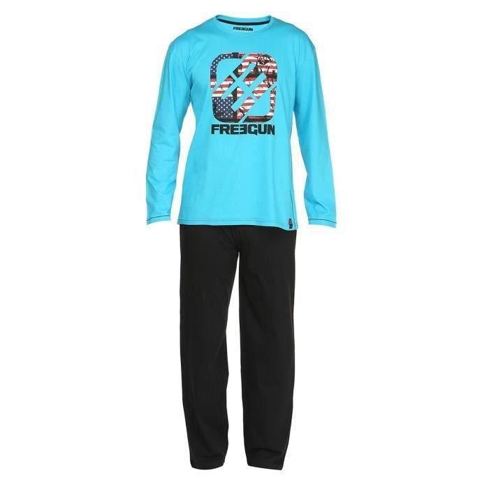 freegun pyjama homme turquoise et noir achat vente chemise de nuit soldes d hiver d s le. Black Bedroom Furniture Sets. Home Design Ideas
