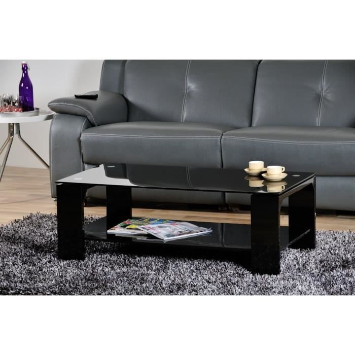 molly table basse en verre et laqu e noire achat vente. Black Bedroom Furniture Sets. Home Design Ideas