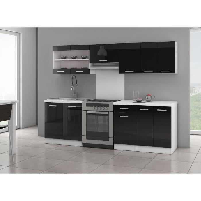 ultra cuisine compl te 2m40 noir brillant achat vente cuisine compl te ultra cuisine. Black Bedroom Furniture Sets. Home Design Ideas