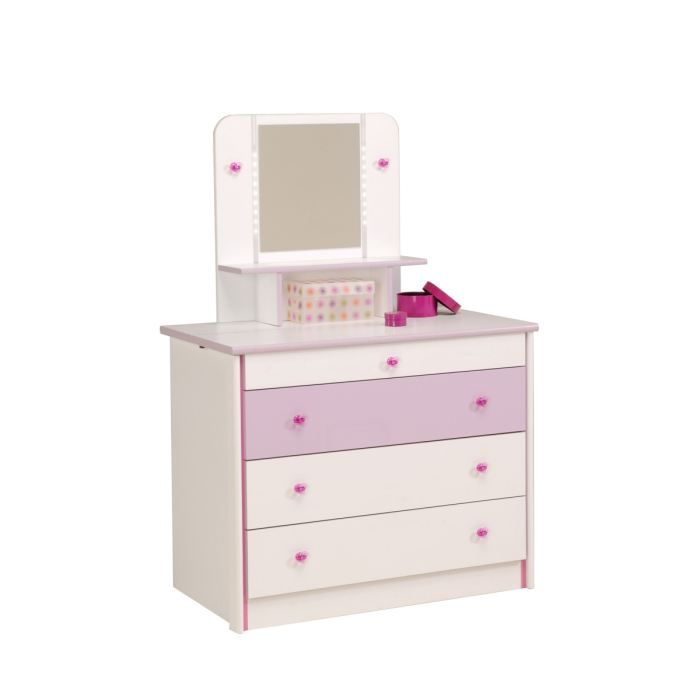 Commodes achat vente commodes pas cher cdiscount - Coiffeuse blanc laque ...