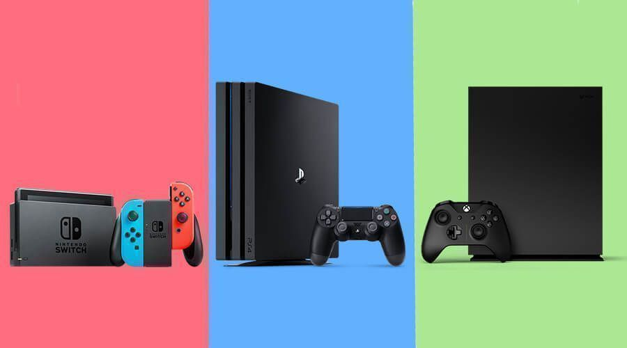Consoles jeux Xbox One PS4 Nintendo Switch color