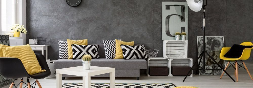 quelles couleurs assortir dans un salon gris cdiscount. Black Bedroom Furniture Sets. Home Design Ideas