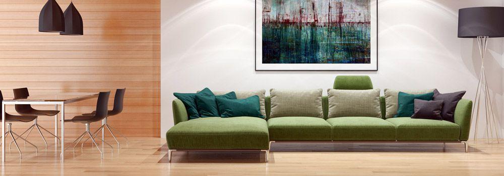 salon bien agencé avec canapé vert