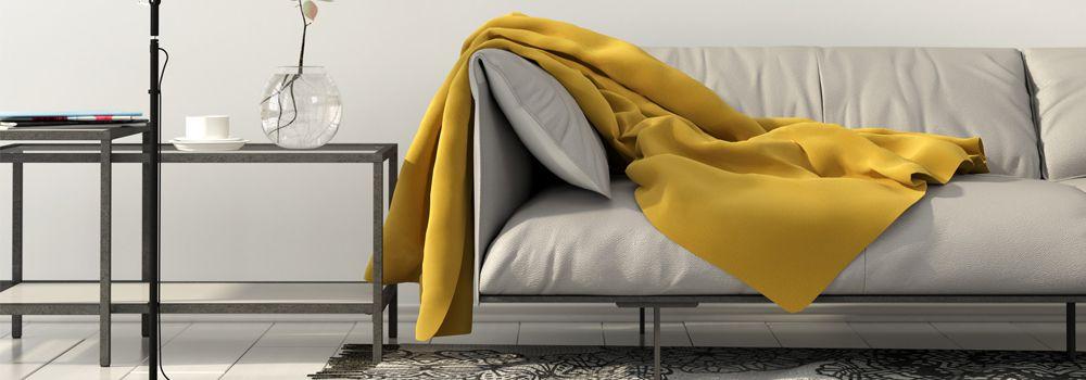 sofa, meuble et lampe en métal