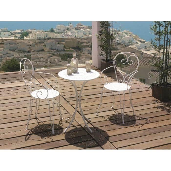 set table de jardin romantique en fer forgé